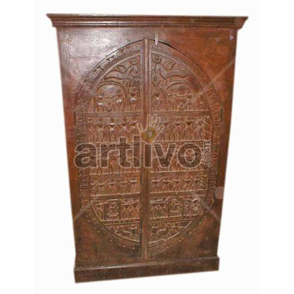 Antique Indian Carved Royal Solid Wooden Teak Almirah