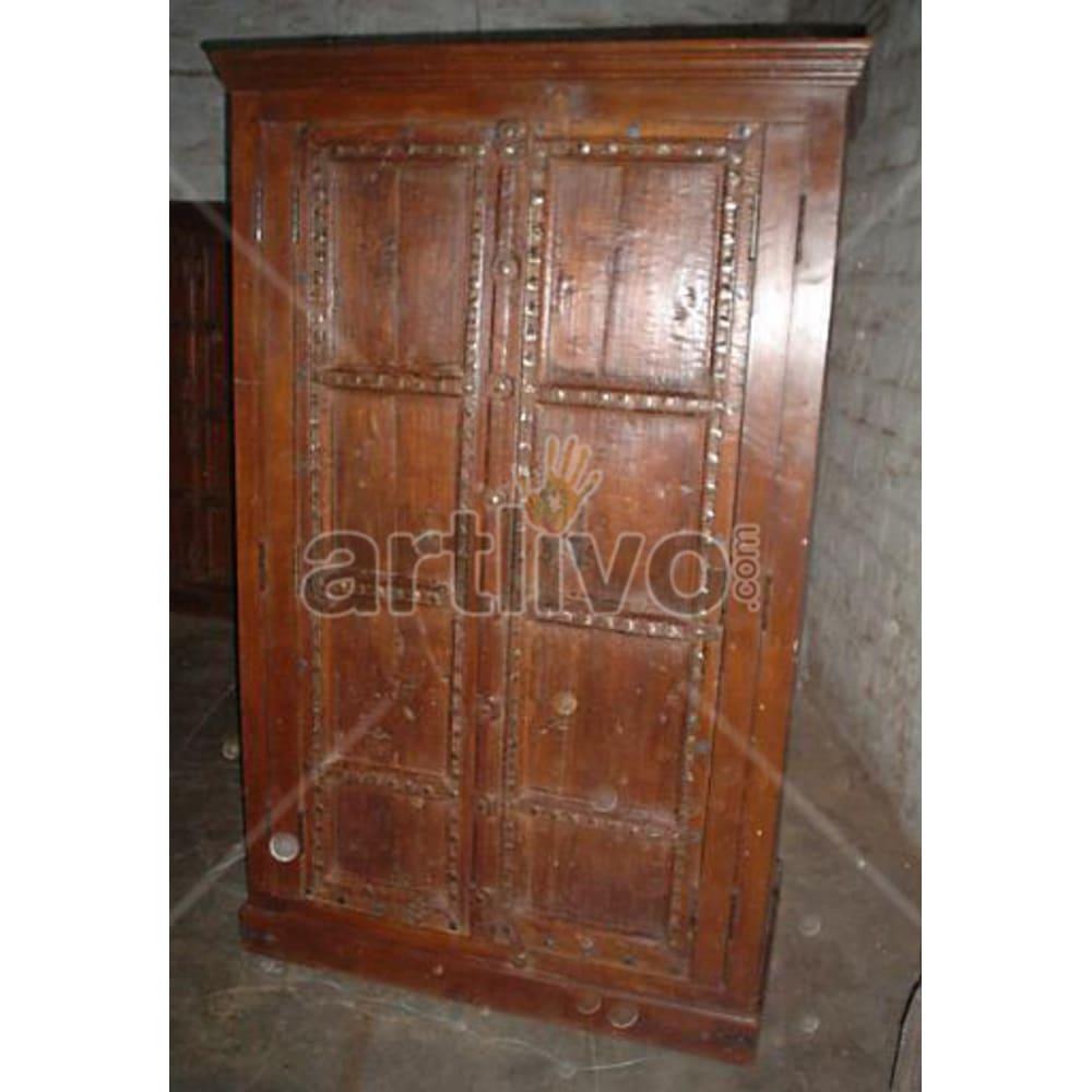 Antique Indian Chiselled Extravagant Solid Wooden Teak Almirah