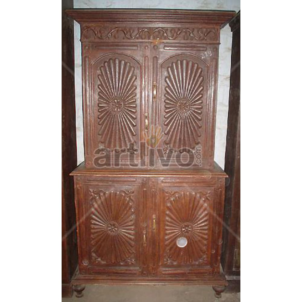 Antique Indian Chiselled noble Solid Wooden Teak Almirah