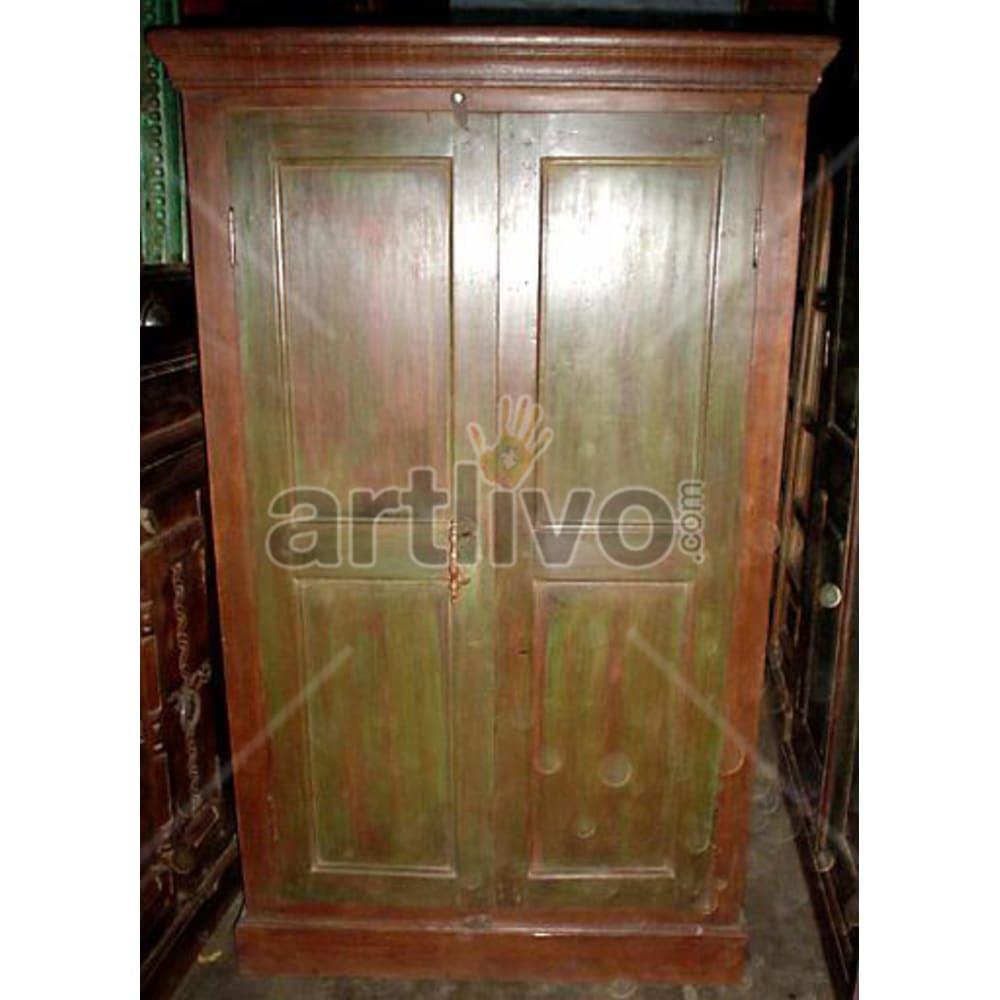 Antique Indian Engraved Ostentatious Solid Wooden Teak Almirah