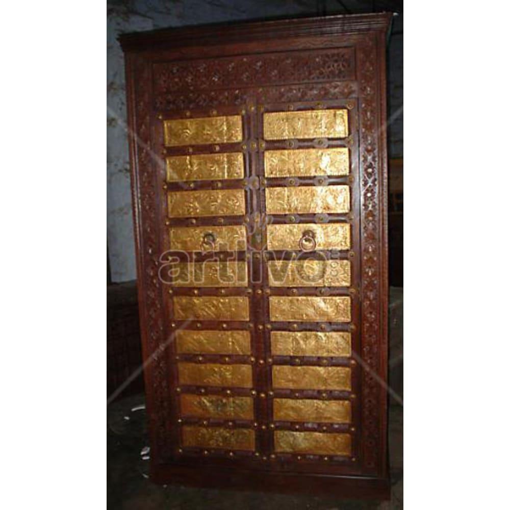 Antique Indian Sculptured Palatial Solid Wooden Teak Almirah