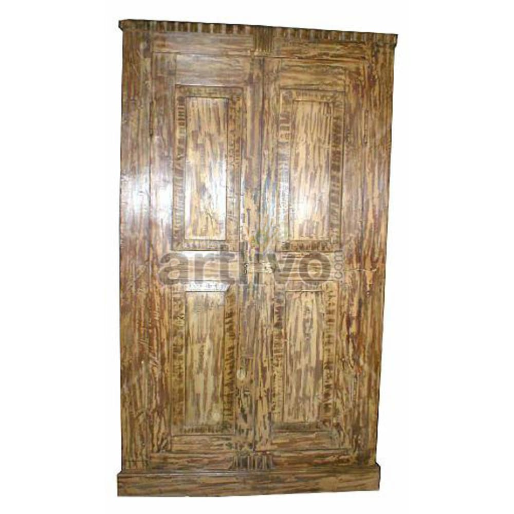 Antique Indian Sculptured Plush Solid Wooden Teak Almirah