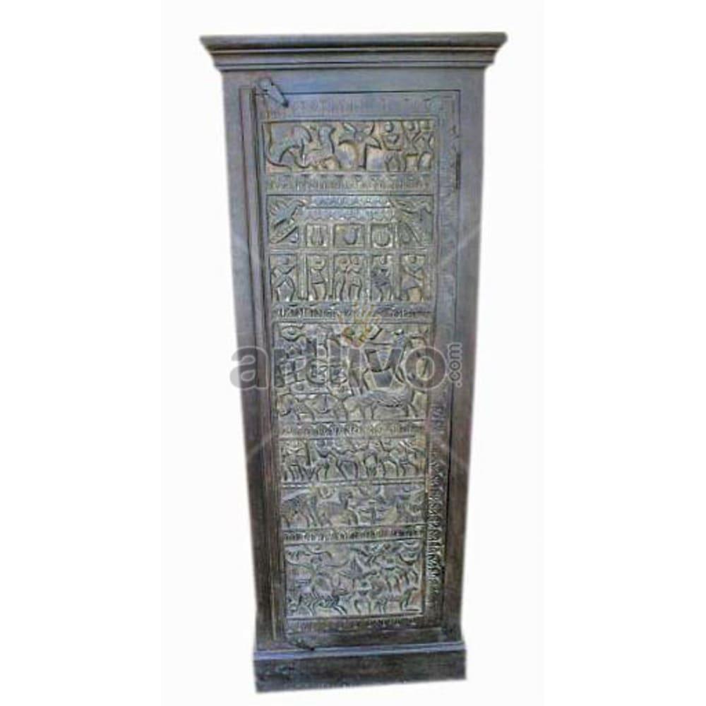 Antique Indian Sculptured illustrious Solid Wooden Teak Almirah