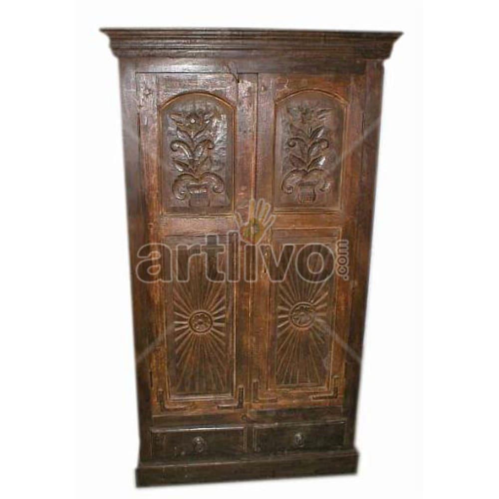 Antique Indian Sculptured Marvellous Solid Wooden Teak Almirah