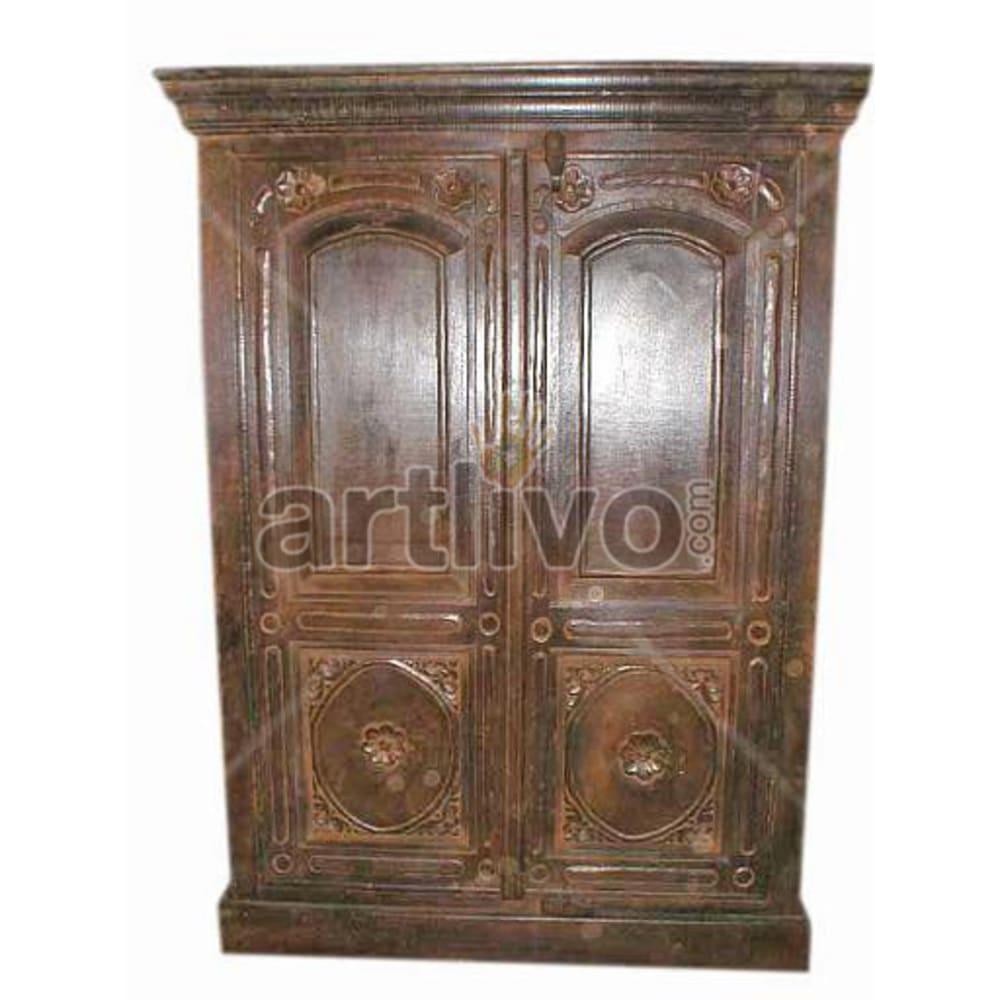 Old Indian Carved Deluxe Solid Wooden Teak Almirah