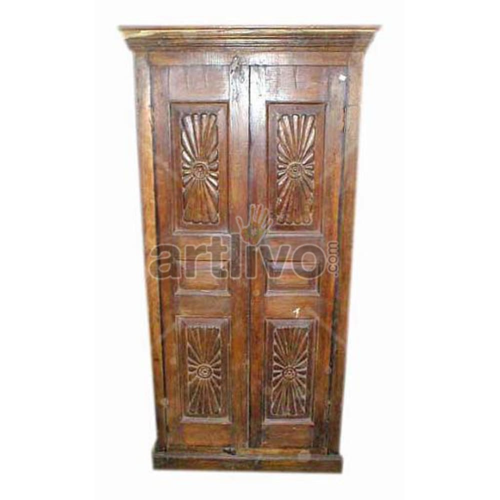 Old Indian Carved Luscious Solid Wooden Teak Almirah