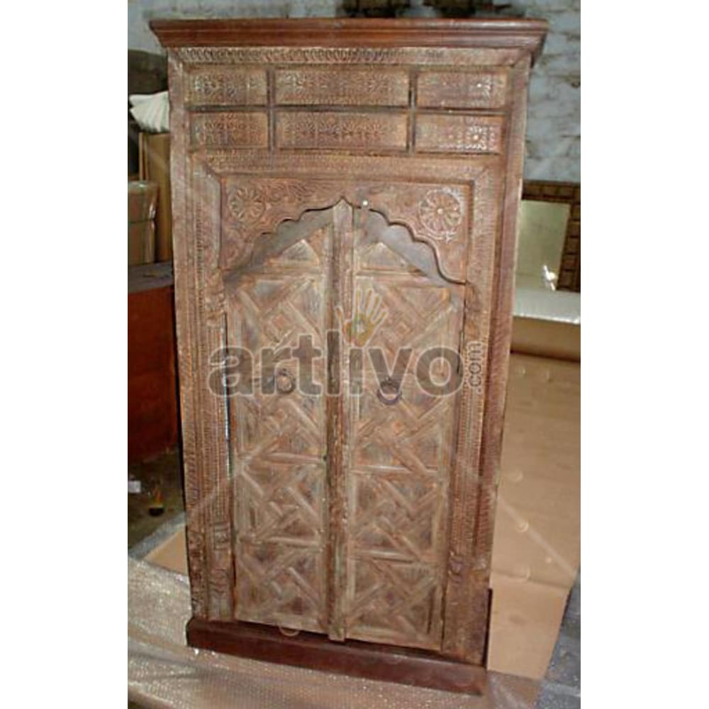 Old Indian Chiselled Deluxe Solid Wooden Teak Almirah