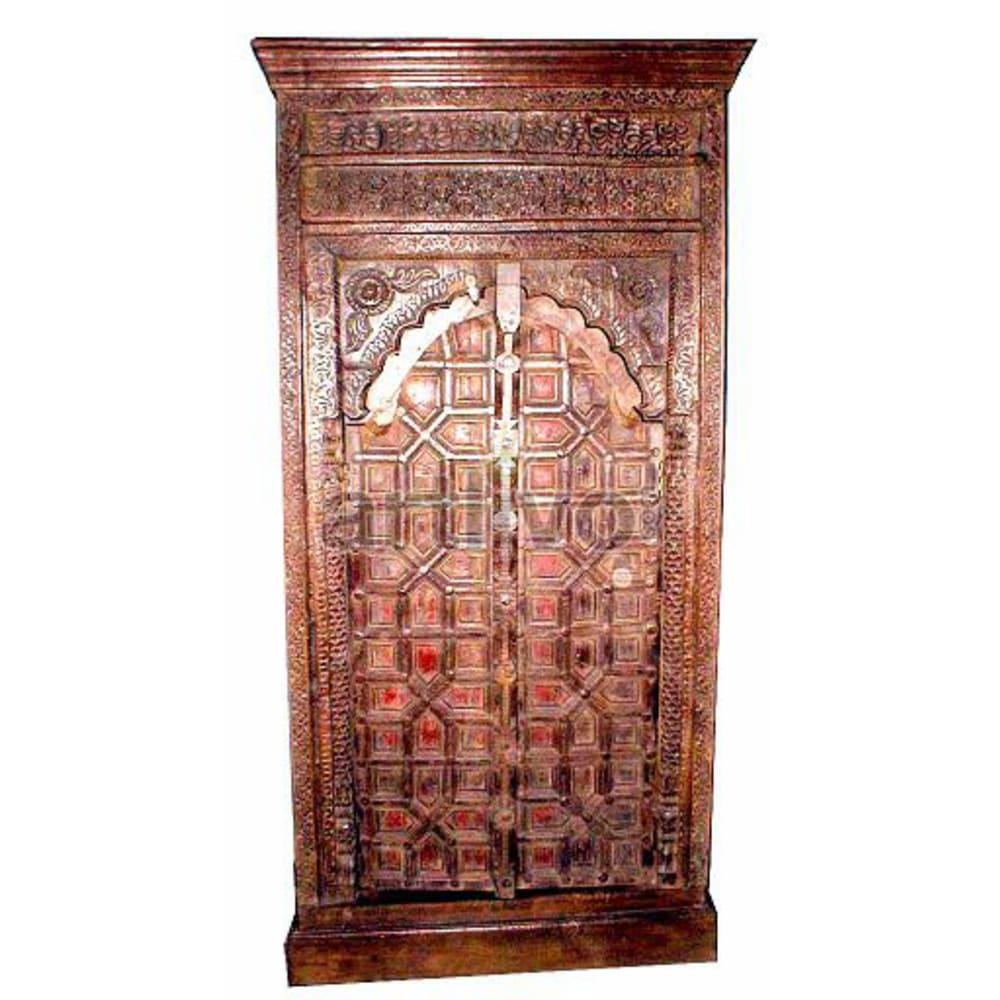 Old Indian Chiselled Lavish Solid Wooden Teak Almirah