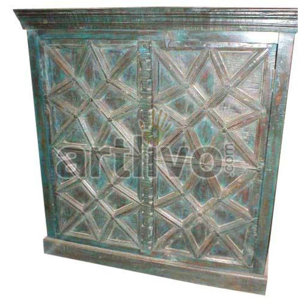Old Indian Engraved Plush Solid Wooden Teak Almirah