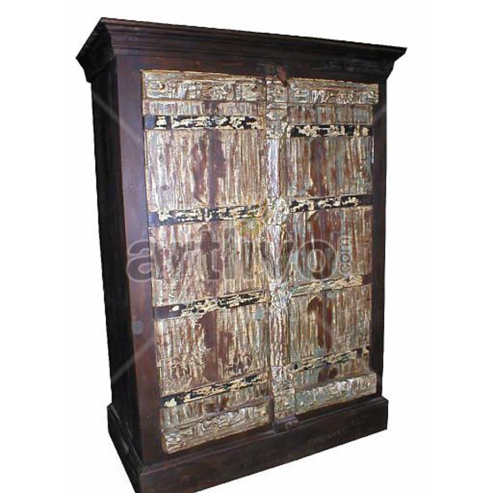 Old Indian Sculpted Extravagant Solid Wooden Teak Almirah