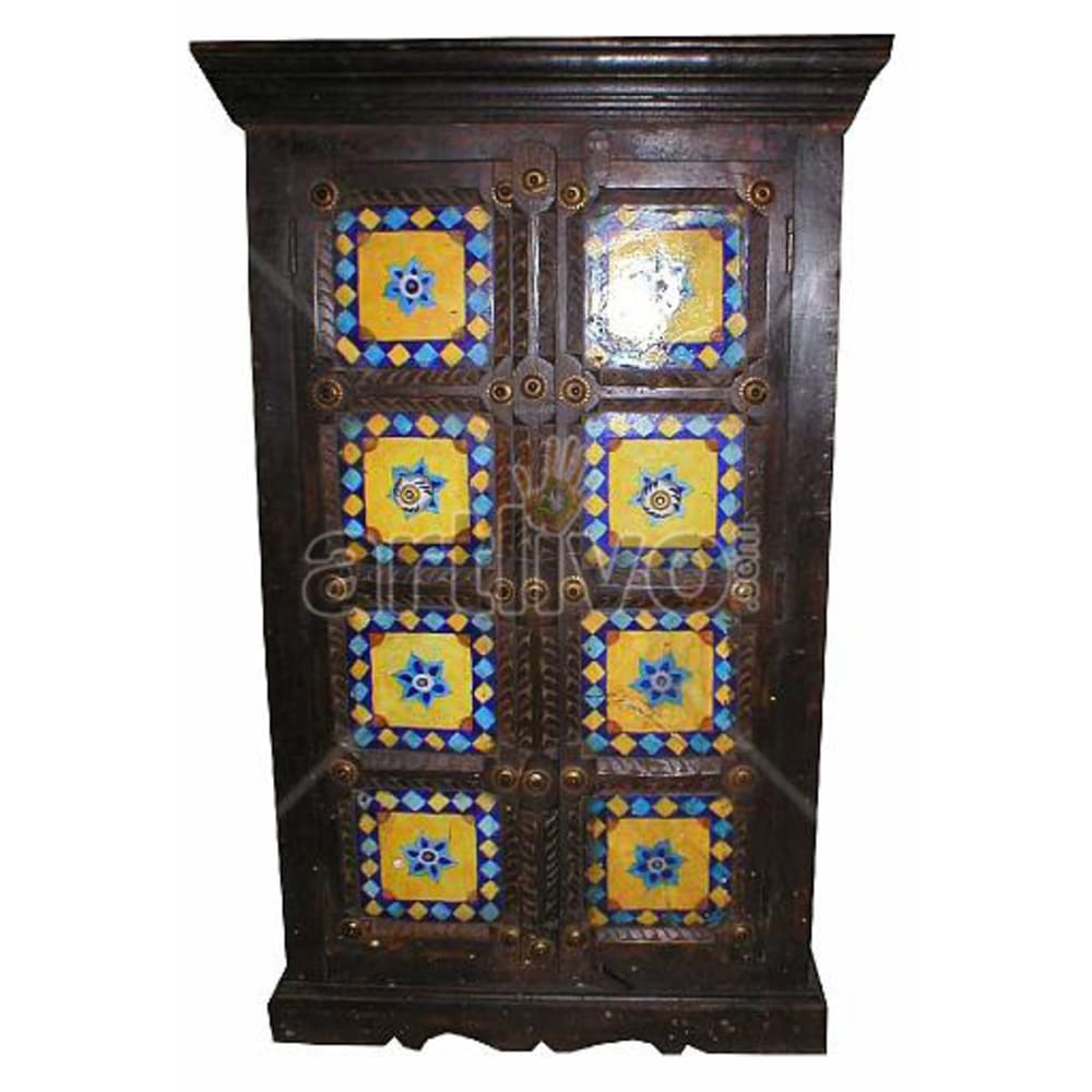 Old Indian Sculpted noble Solid Wooden Teak Almirah