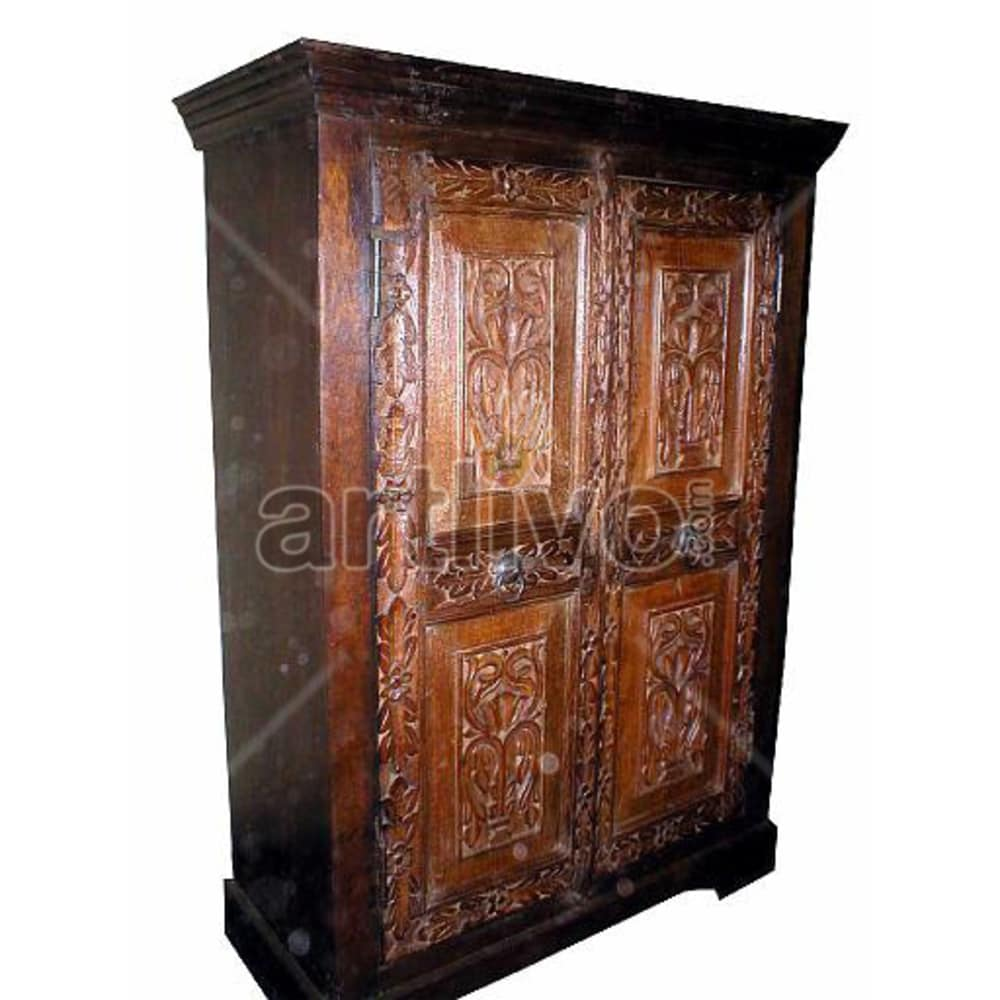 Old Indian Sculptured noble Solid Wooden Teak Almirah