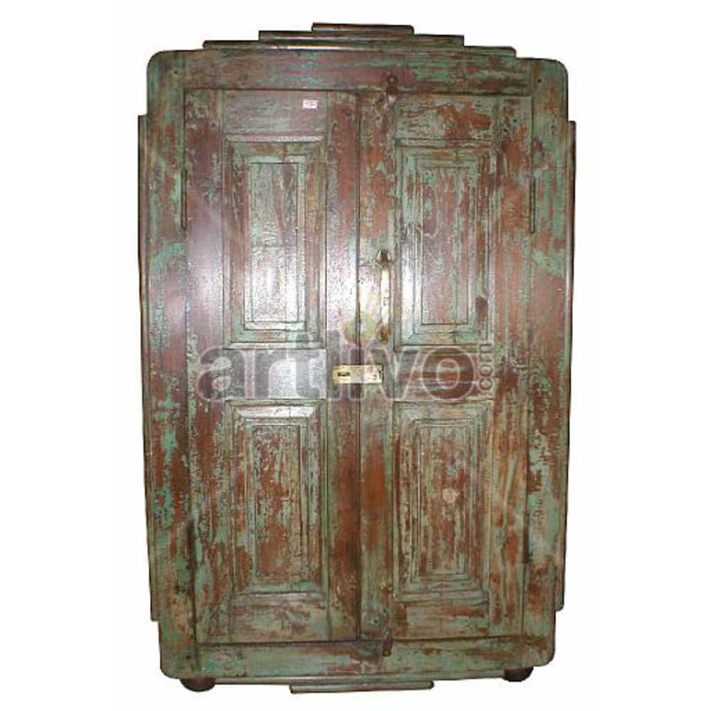Old Indian Brown Lavish Solid Wooden Teak Almirah