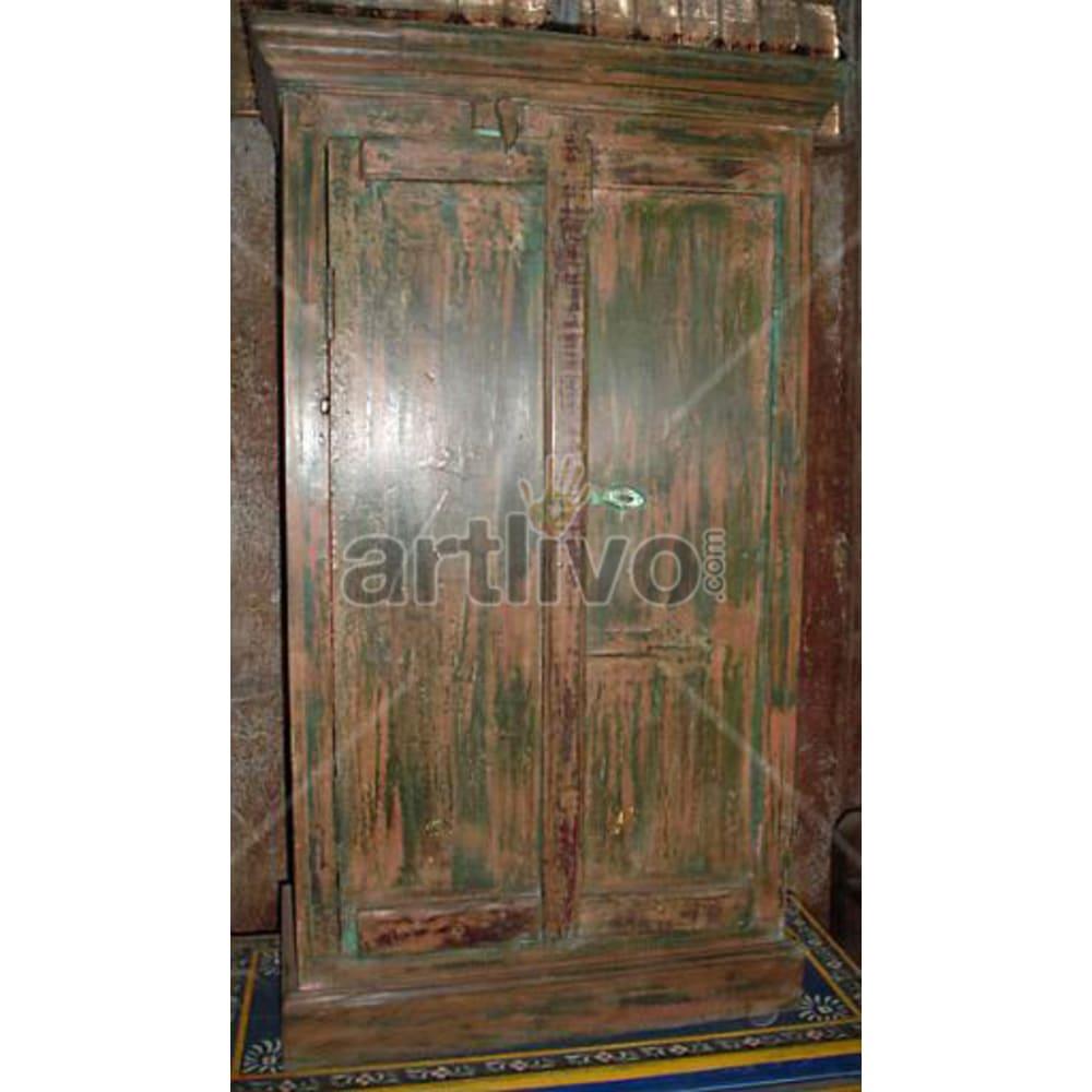 Old Indian Brown Palatial Solid Wooden Teak Almirah