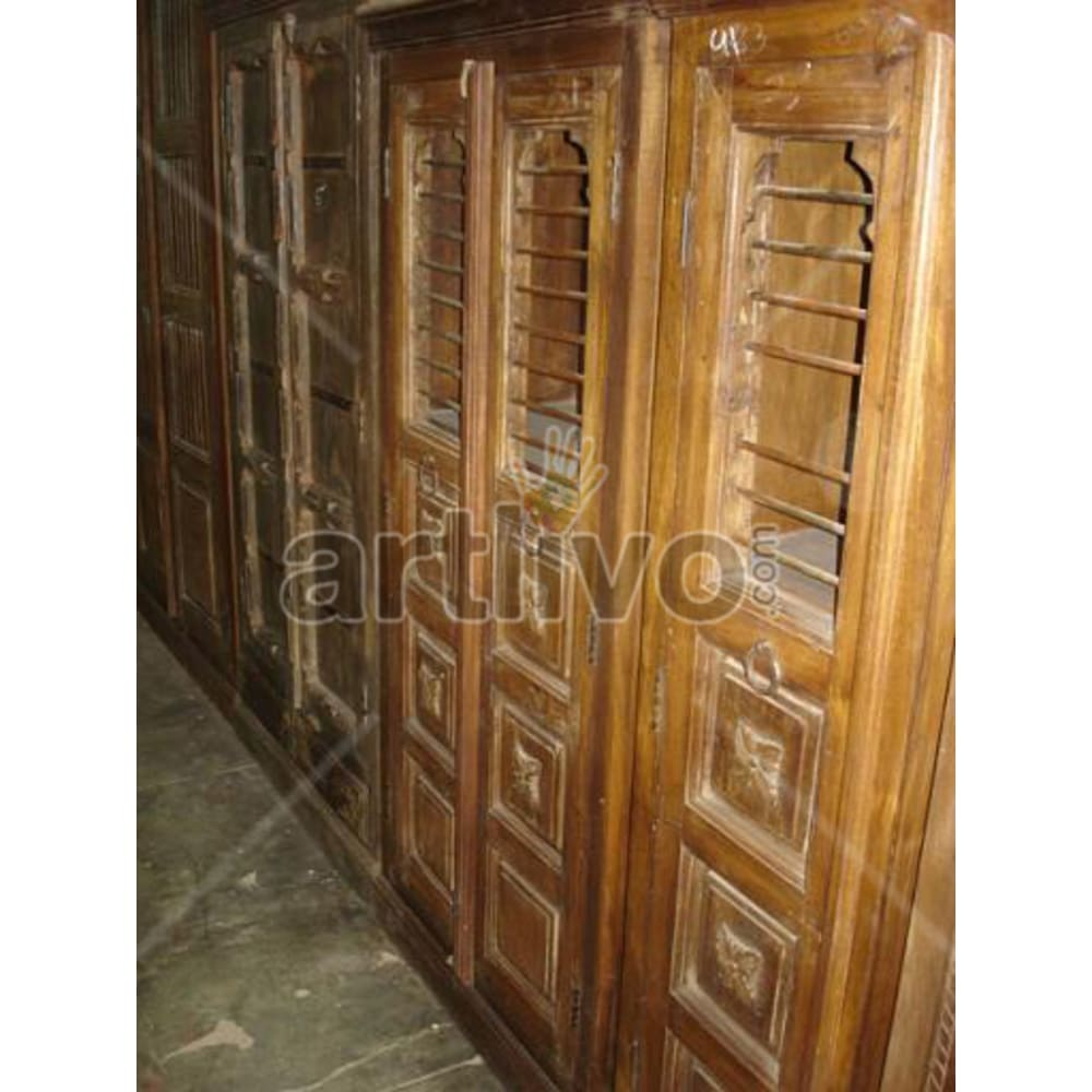 Old Indian Brown Royal Solid Wooden Teak Almirah