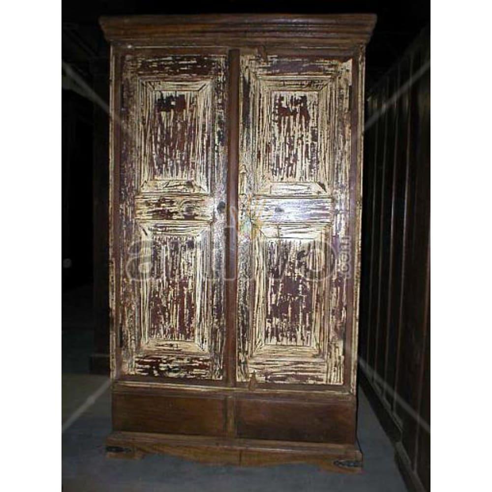 Restored Carved Unique Solid Wooden Teak Almirah