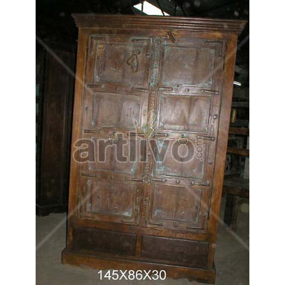 Restored Carved Lavish Solid Wooden Teak Almirah