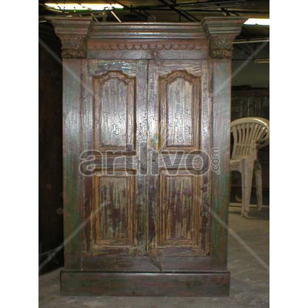 Restored Carved magnificent Solid Wooden Teak Almirah