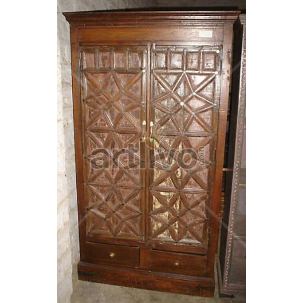 Restored Carved Splendid Solid Wooden Teak Almirah