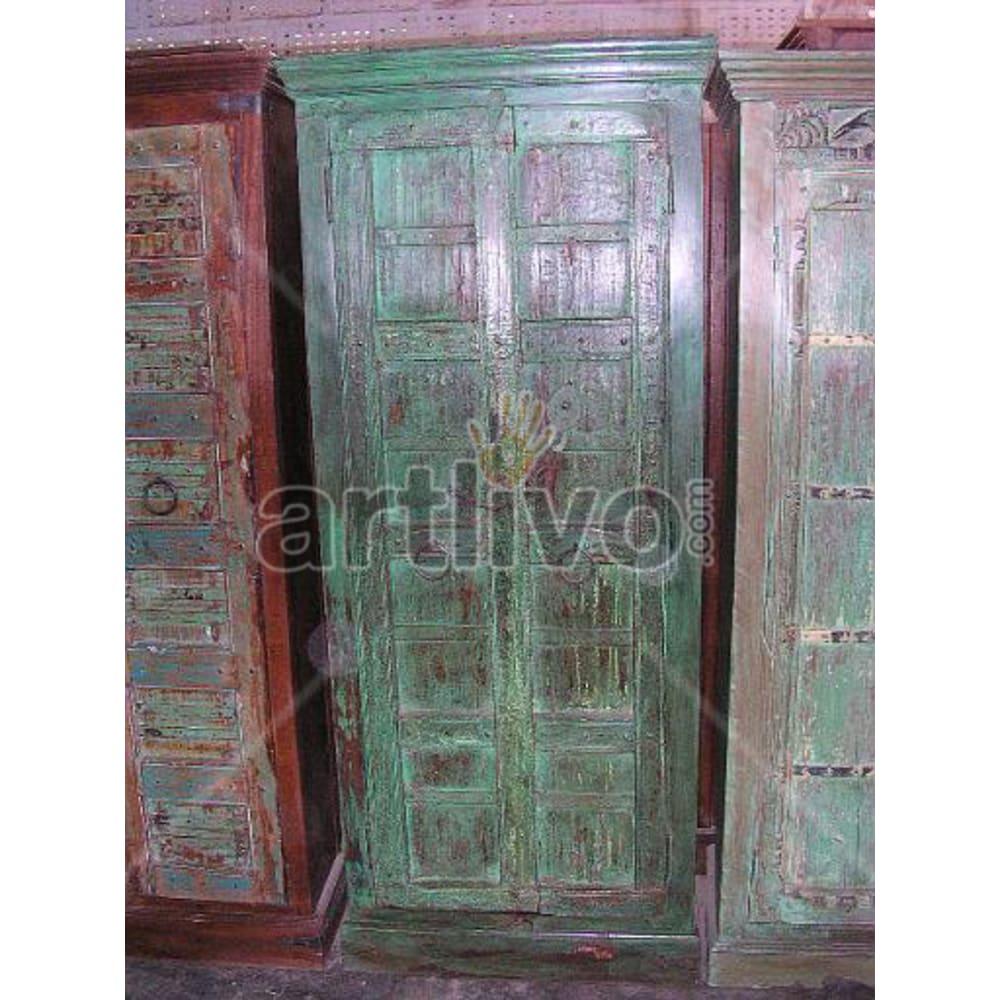 Restored Chiselled Opulent Solid Wooden Teak Almirah