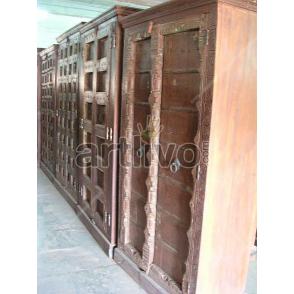 Restored Chiselled Palatial Solid Wooden Teak Almirah