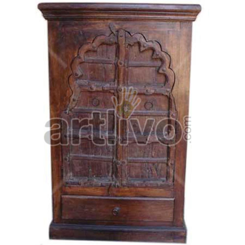 Restored Chiselled Royal Solid Wooden Teak Almirah