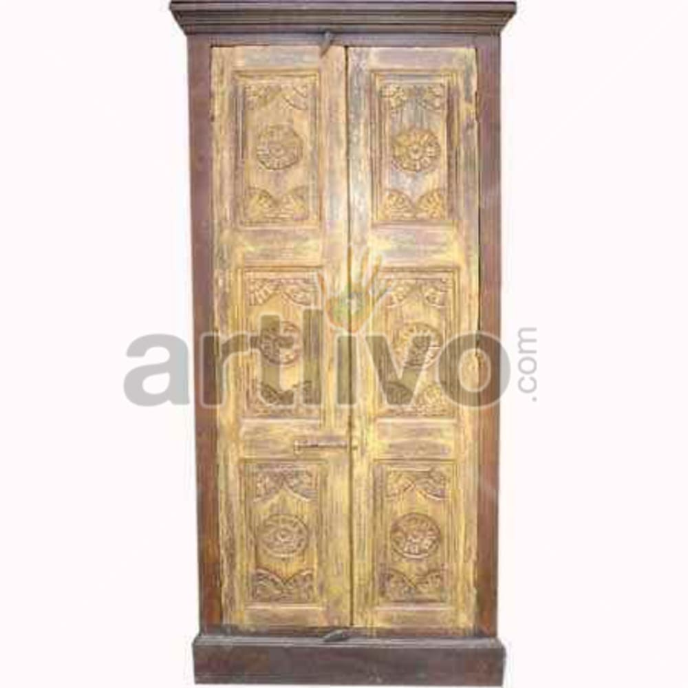 Restored Chiselled Superb Solid Wooden Teak Almirah
