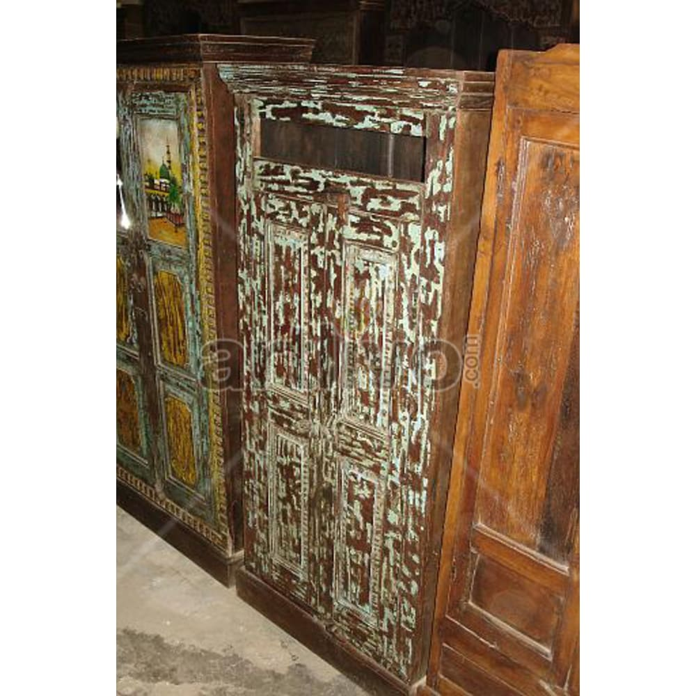 Restored Engraved Marvellous Solid Wooden Teak Almirah