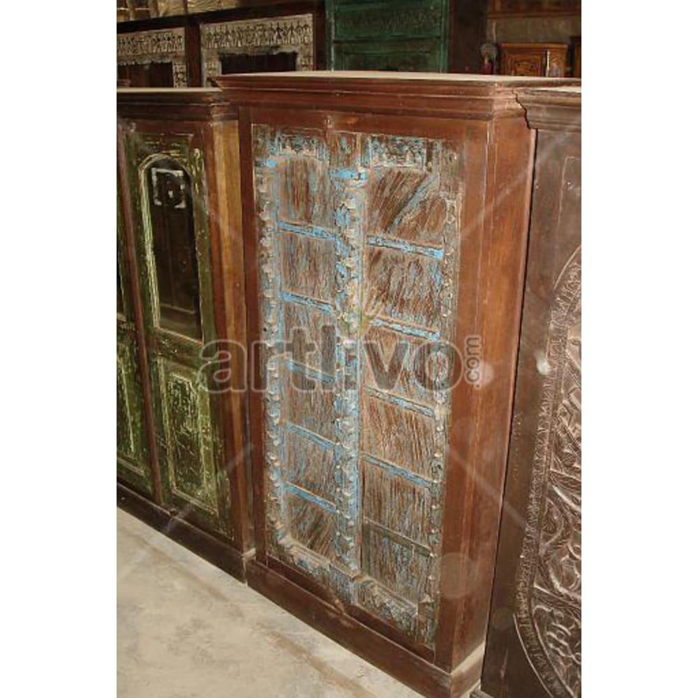 Restored Sculpted Rich Solid Wooden Teak Almirah