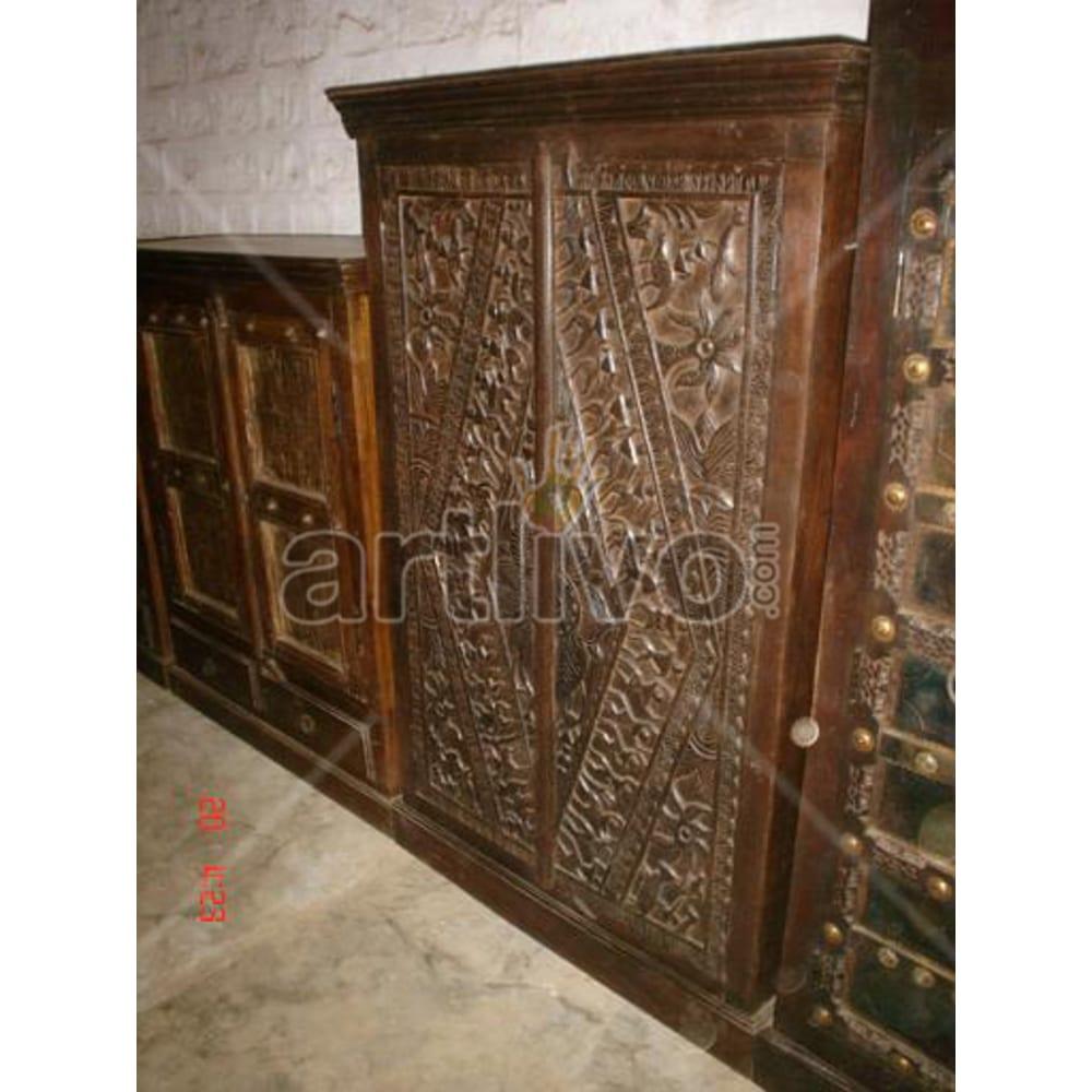 Restored Beautiful Rich Solid Wooden Teak Almirah