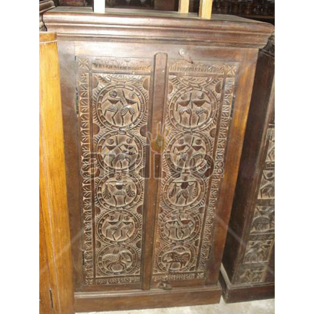 Restored Beautiful Ostentatious Solid Wooden Teak Almirah