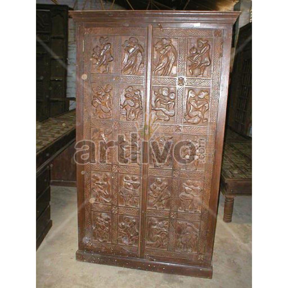 Restored Brown Royal Solid Wooden Teak Almirah