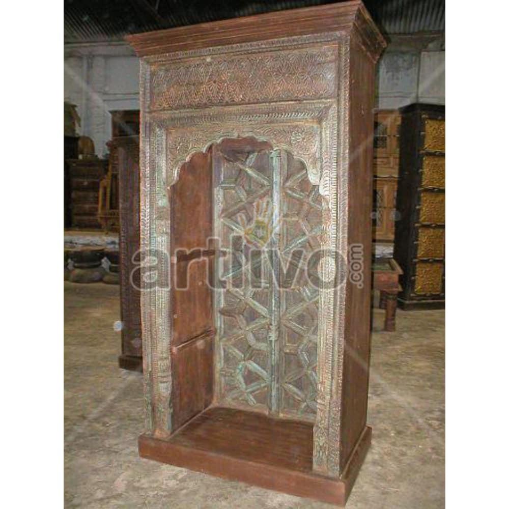 Vintage Indian Carved Stately Solid Wooden Teak Bookshelf