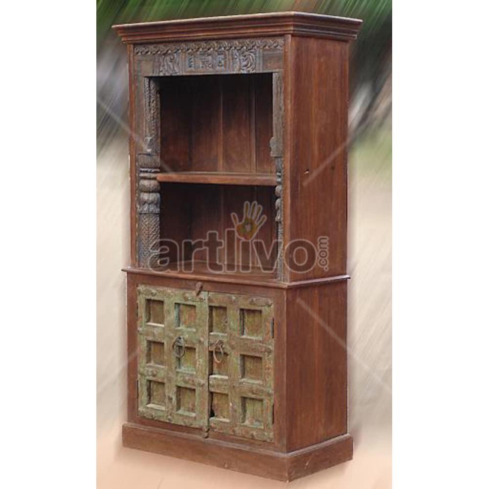 Vintage Indian Brown Supreme Solid Wooden Teak Bookshelf
