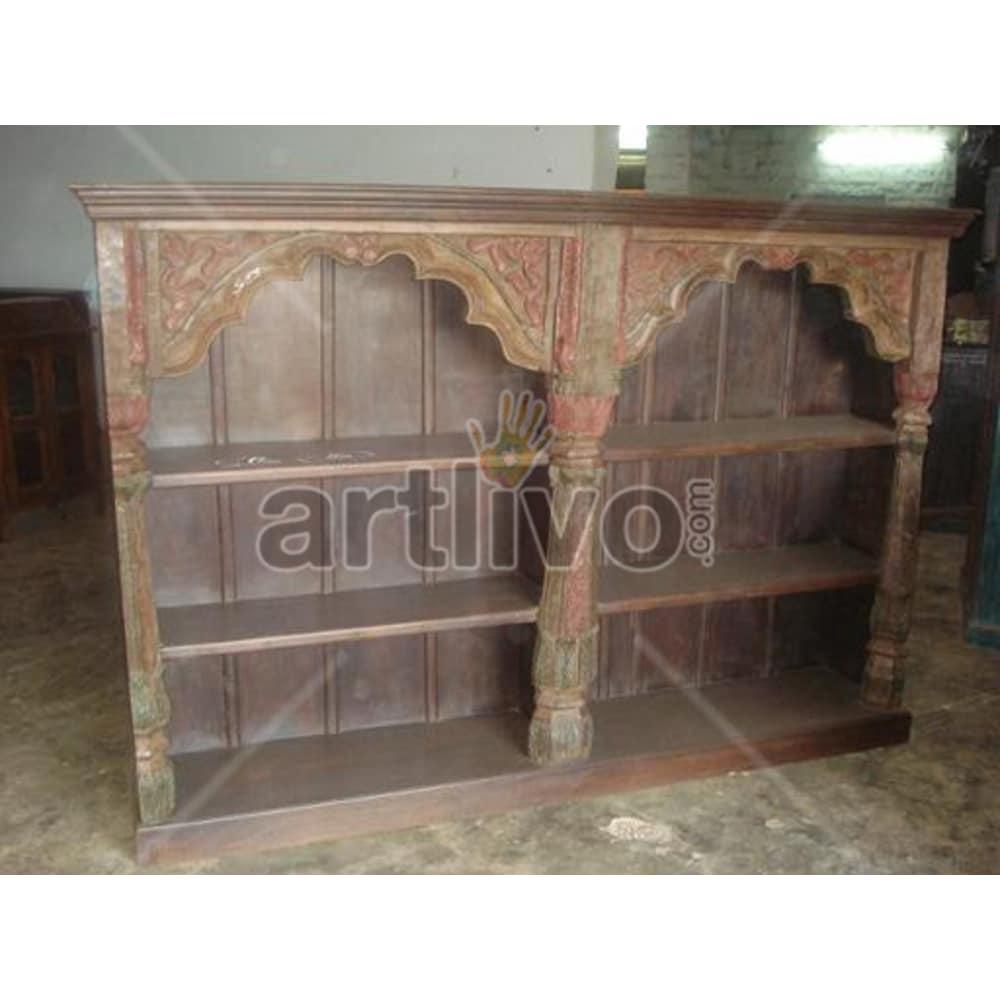 Vintage Indian Brown Splendid Solid Wooden Teak Bookshelf