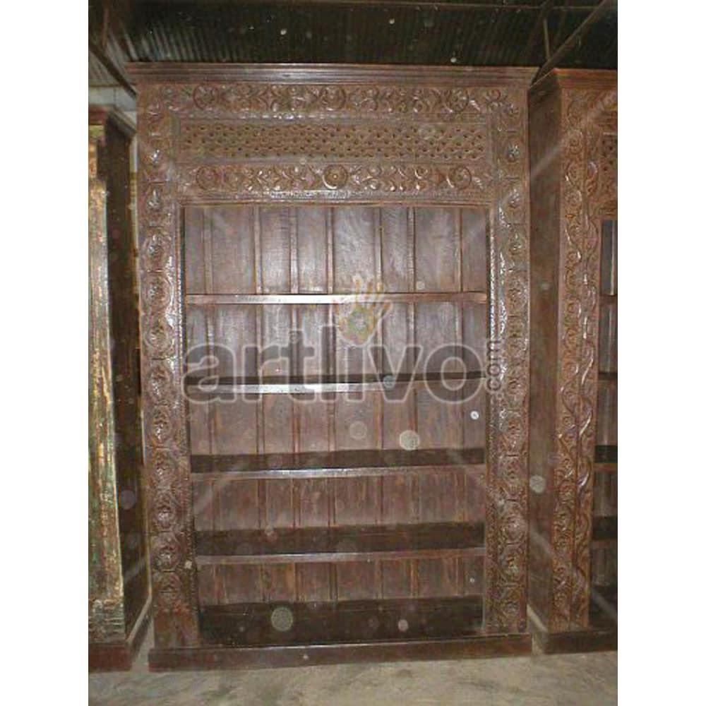 Vintage Indian Chiselled Plush Solid Wooden Teak Bookshelf