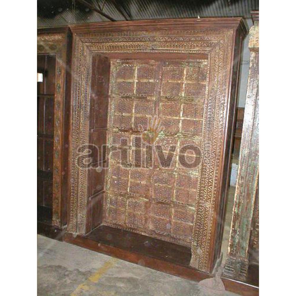 Vintage Indian Chiselled Magnificent Solid Wooden Teak Bookshelf