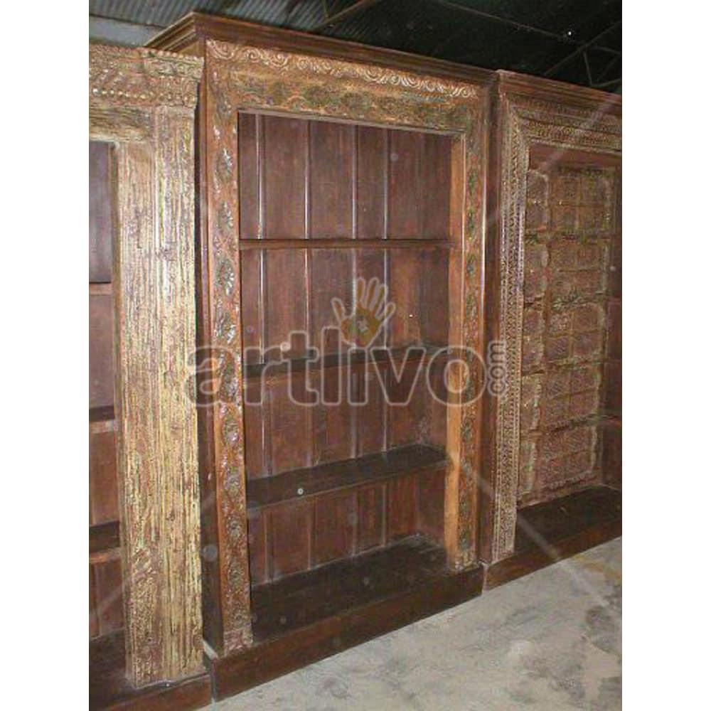 Vintage Indian Chiselled Noble Solid Wooden Teak Bookshelf