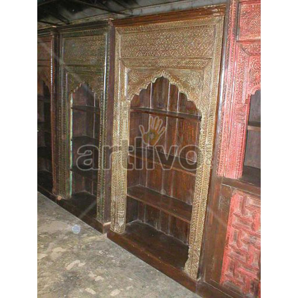 Vintage Indian Chiselled Splendid Solid Wooden Teak Bookshelf