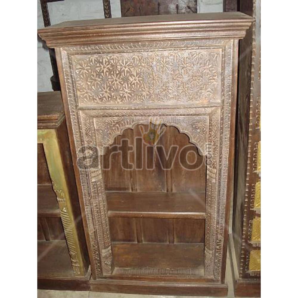 Vintage Indian Engraved Marvellous Solid Wooden Teak Bookshelf