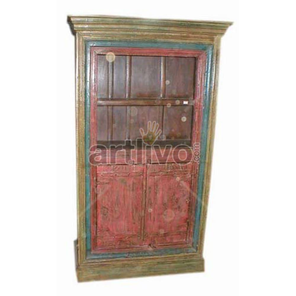 Vintage Indian Sculpted Lavish Solid Wooden Teak Bookshelf