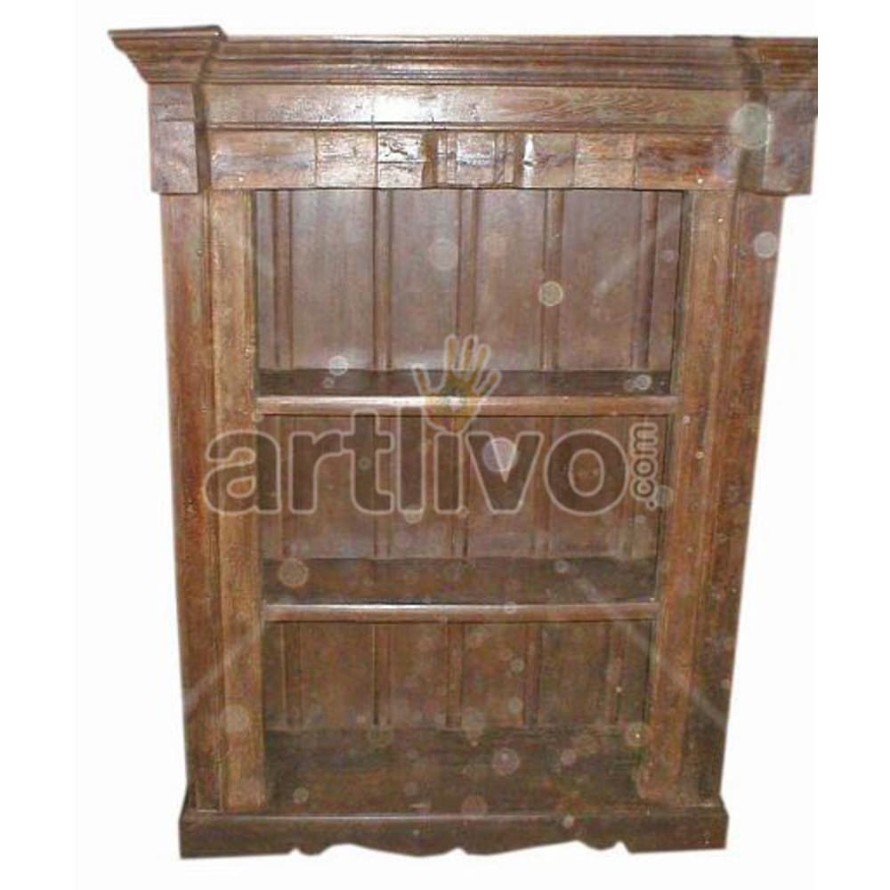 Vintage Indian Sculpted Splendid Solid Wooden Teak Bookshelf