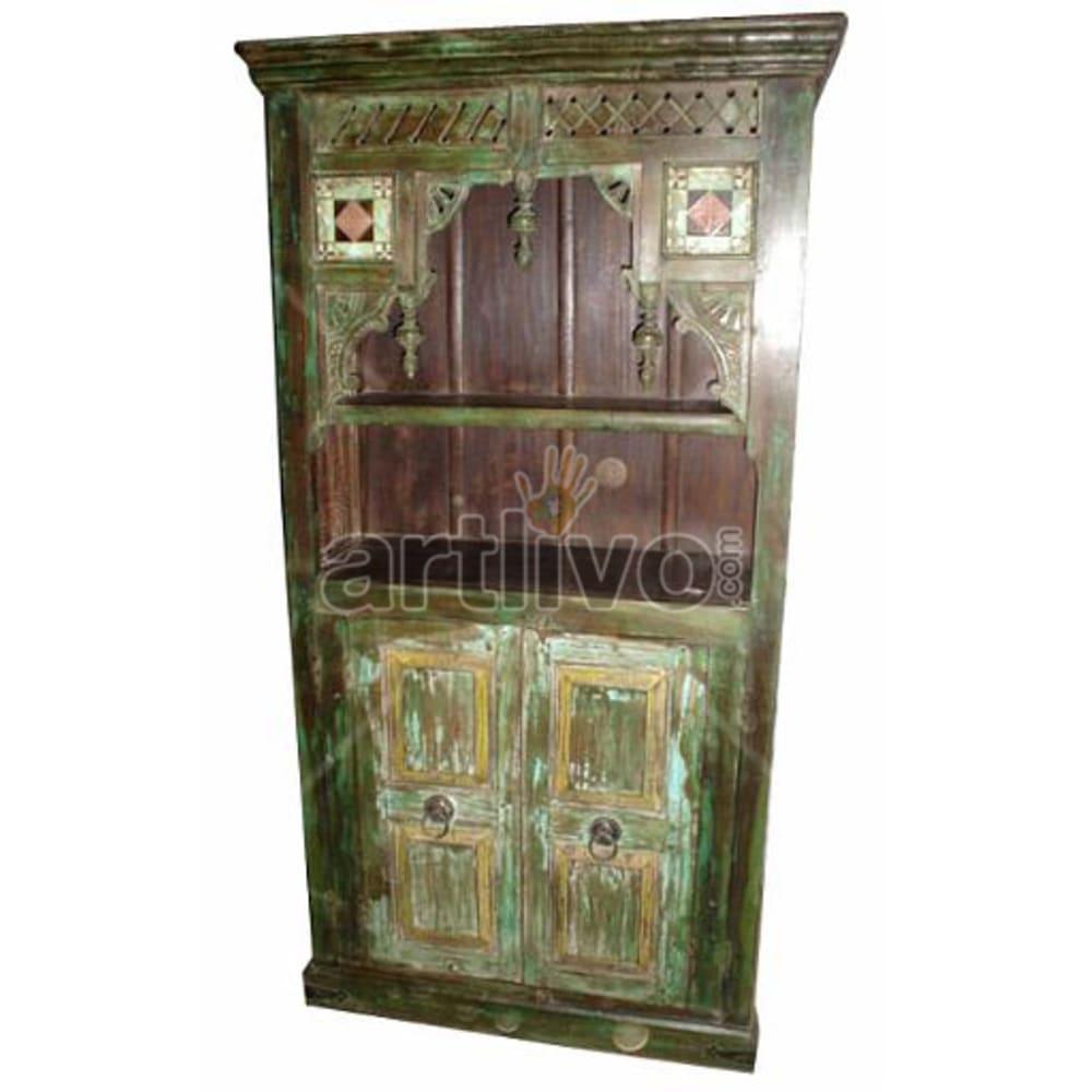 Vintage Indian Sculpted Marvellous Solid Wooden Teak Bookshelf