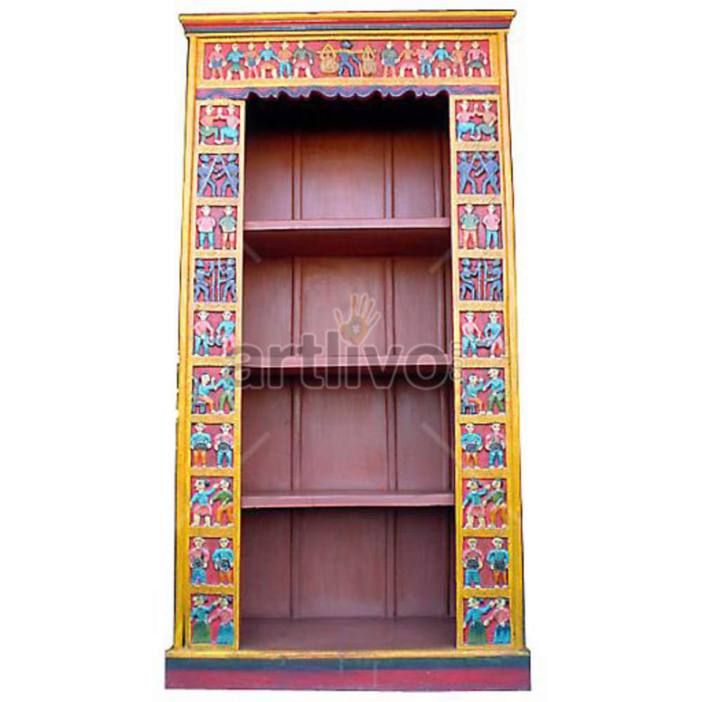 Vintage Indian Sculptured Magnificent Solid Wooden Teak Bookshelf