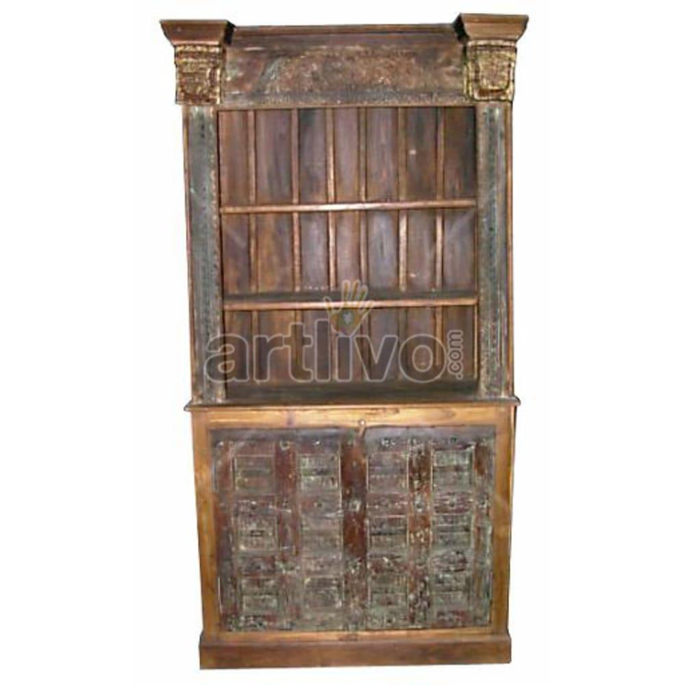 Antique Indian Carved Deluxe Solid Wooden Teak Bookshelf