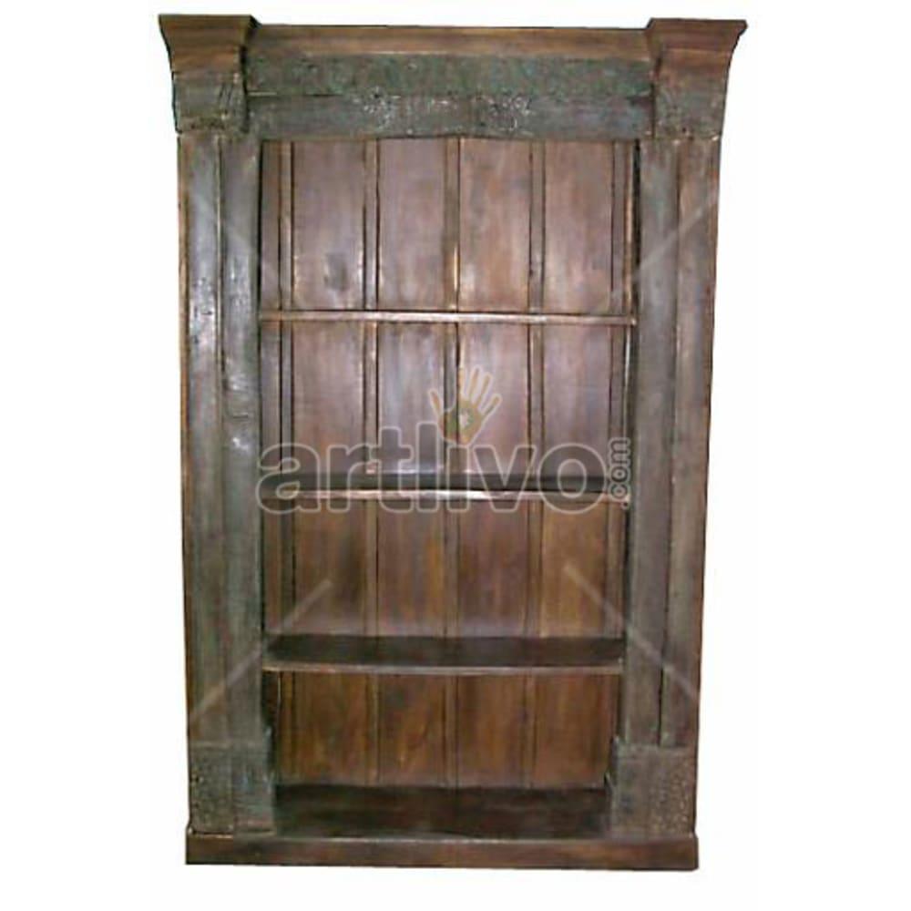 Antique Indian Carved Royal Solid Wooden Teak Bookshelf