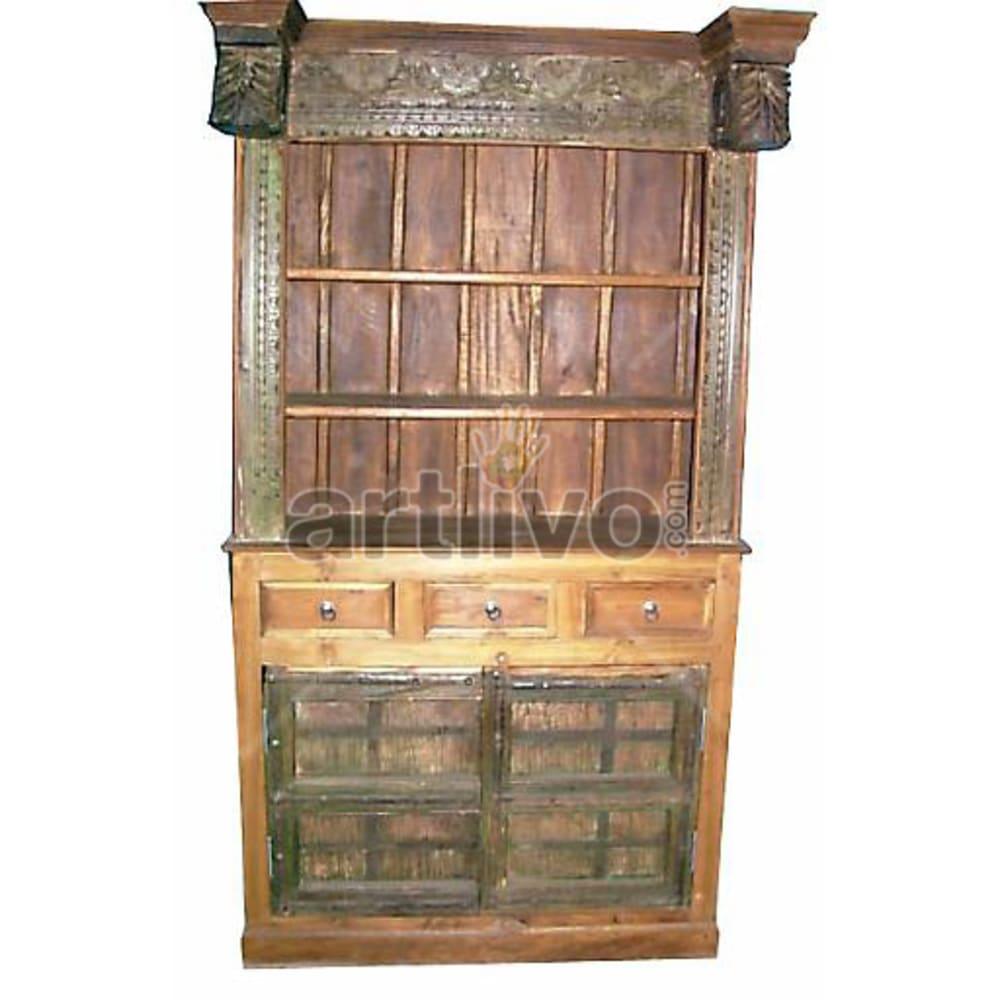Antique Indian Carved Imperial Solid Wooden Teak Bookshelf