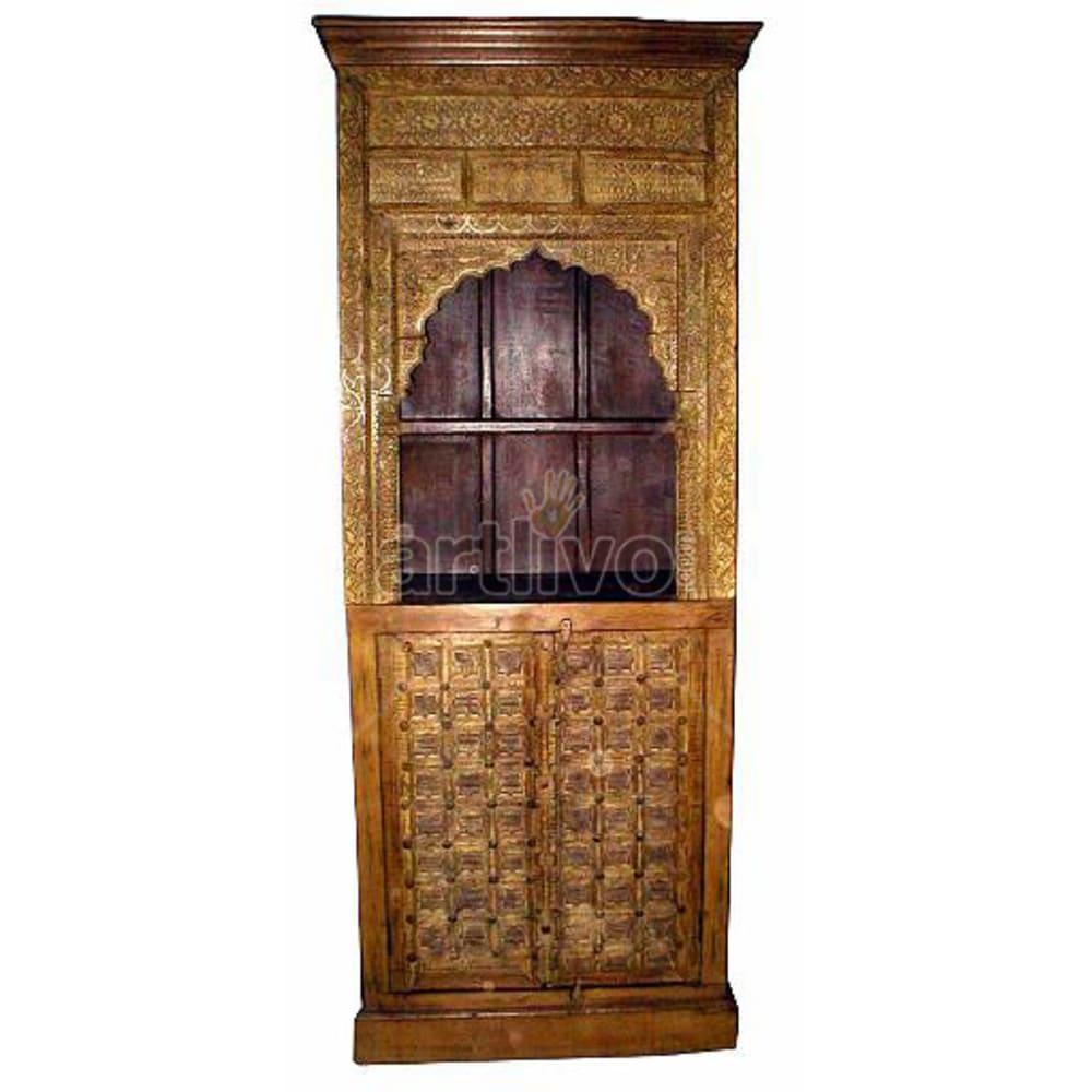 Antique Indian Carved Magnificent Solid Wooden Teak Bookshelf