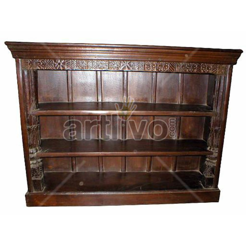 Antique Indian Brown Deluxe Solid Wooden Teak Bookshelf