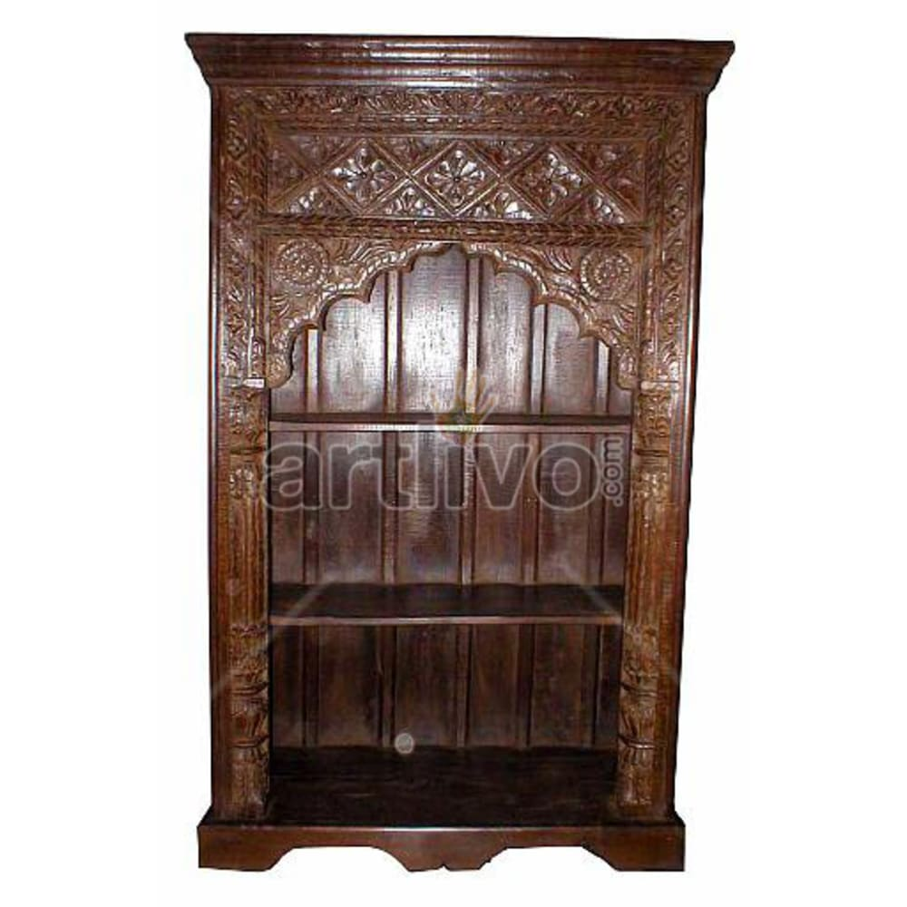 Antique Indian Brown Marvellous Solid Wooden Teak Bookshelf